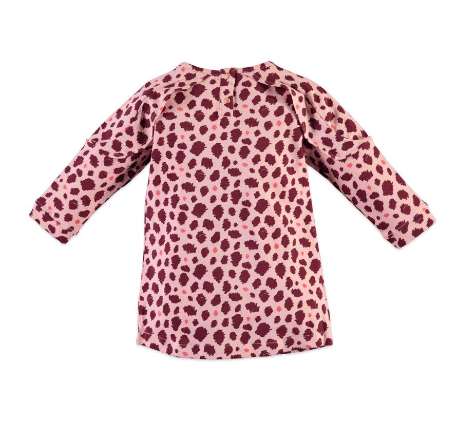 Baby face roze leopard kleedje