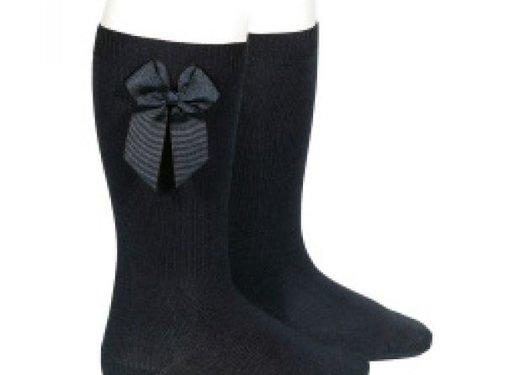 condor Condor zwarte knie kousen met strik