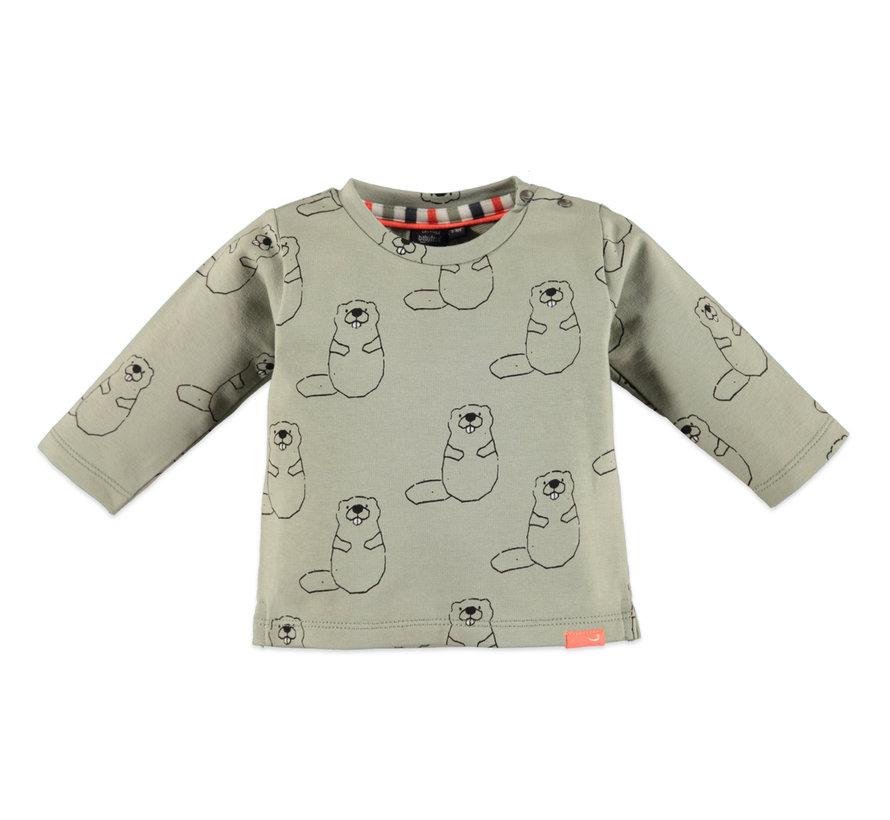 Babyface olijf kleurig aop t-shirt