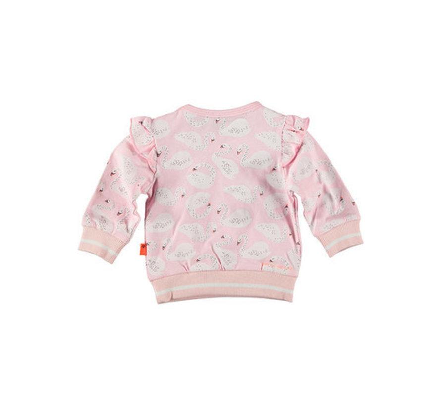 BESS roze zwanen sweater