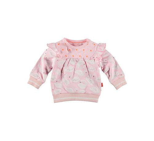 B.e.s.s. BESS roze zwanen sweater