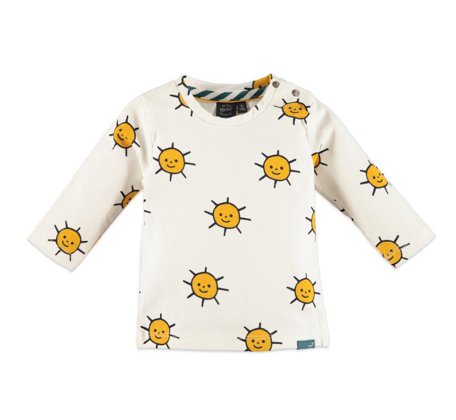 Babyface wit t-shirt zonnen
