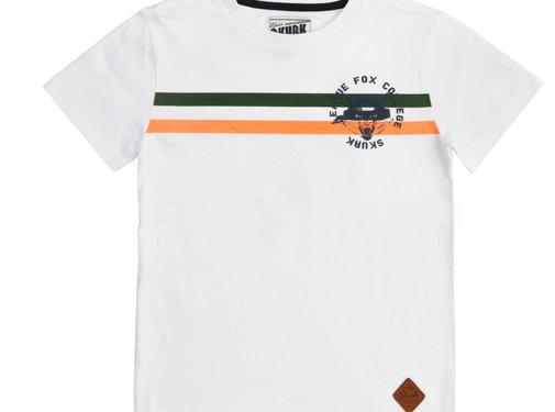 skurk Skurk wit t-shirt oranje en kaki strepen