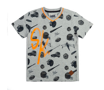 skurk Skurk grijs t-shirt aop