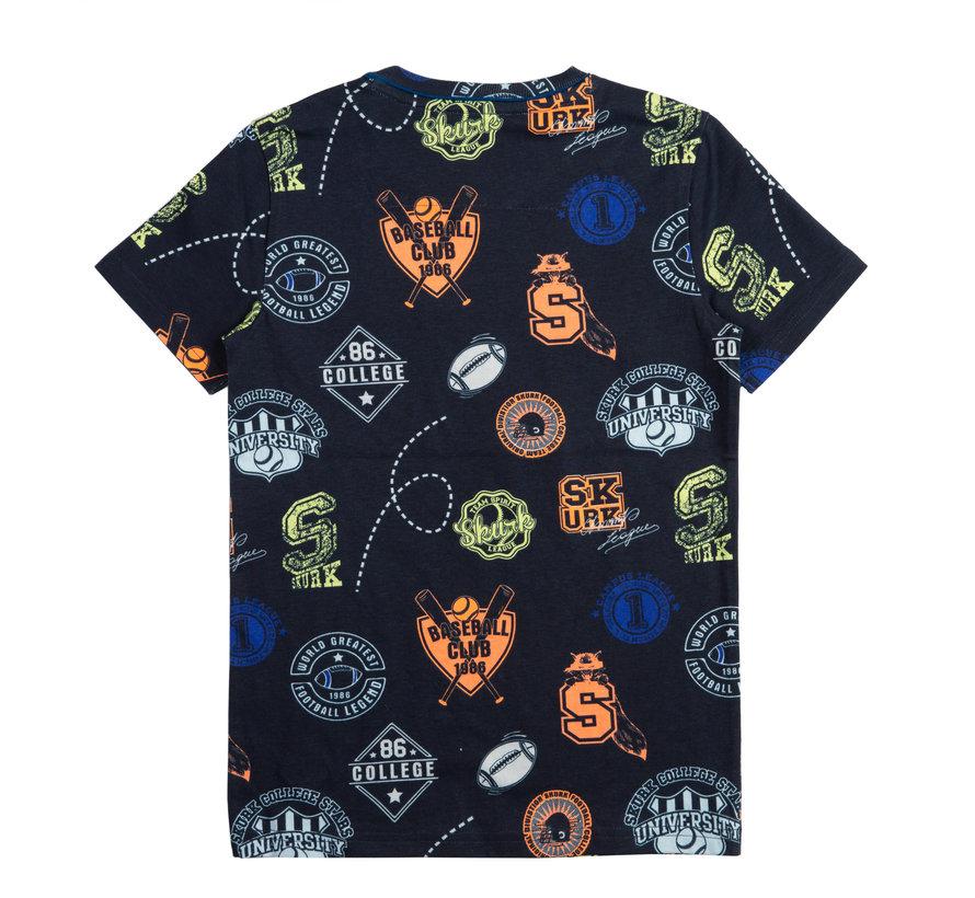 Skurk blauwe aop t-shirt