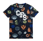 skurk Skurk  blauwe aop t-shirt