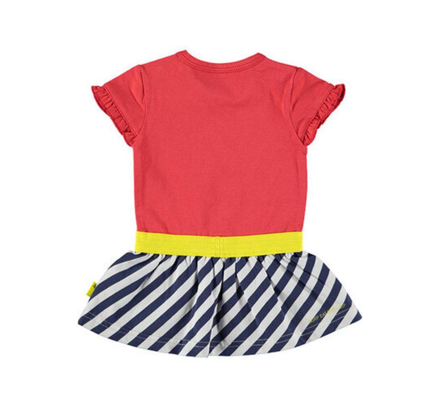 B.E.S.S rood blauwe jurk
