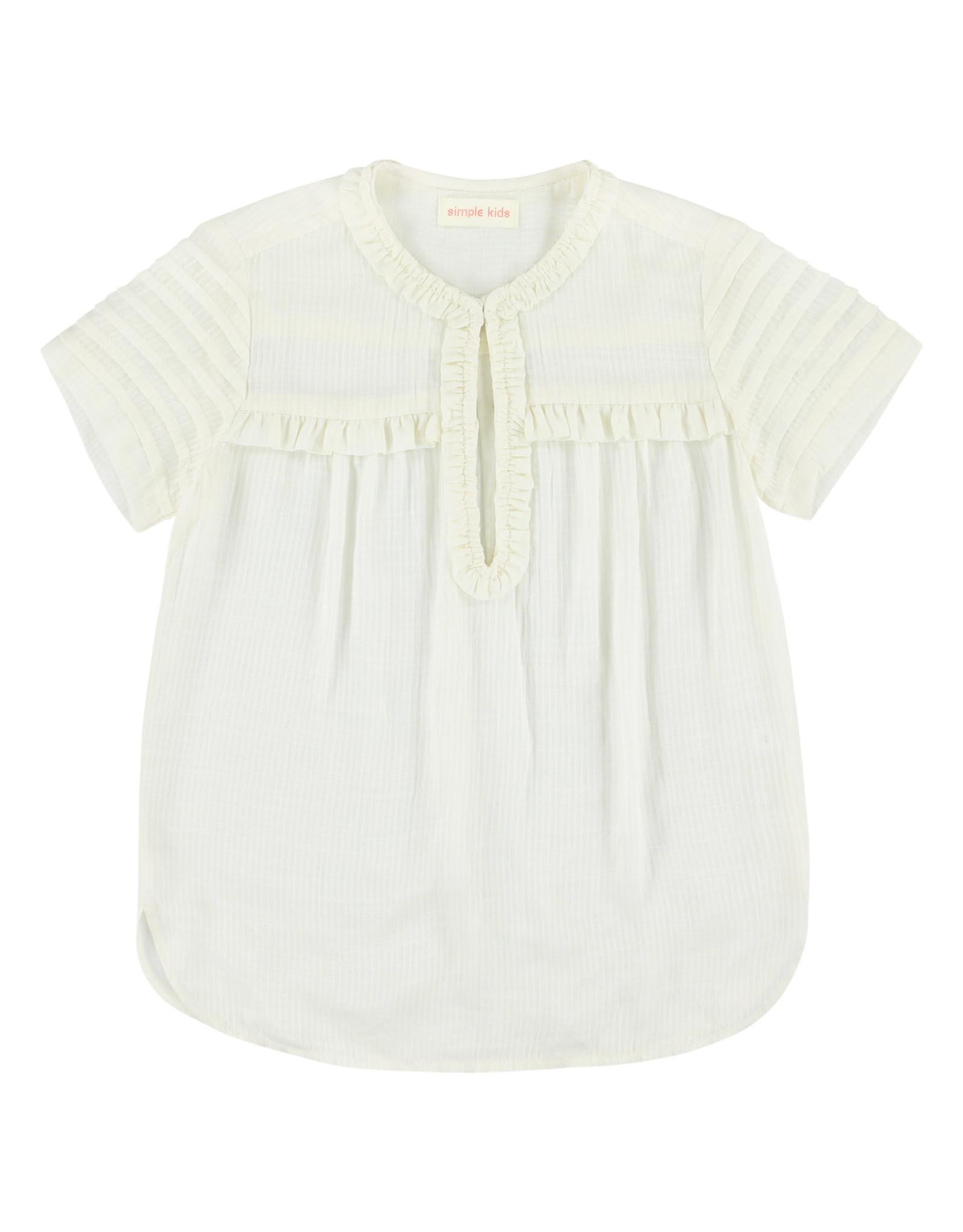 Simple Kids SS21 Cat modrib white shirt