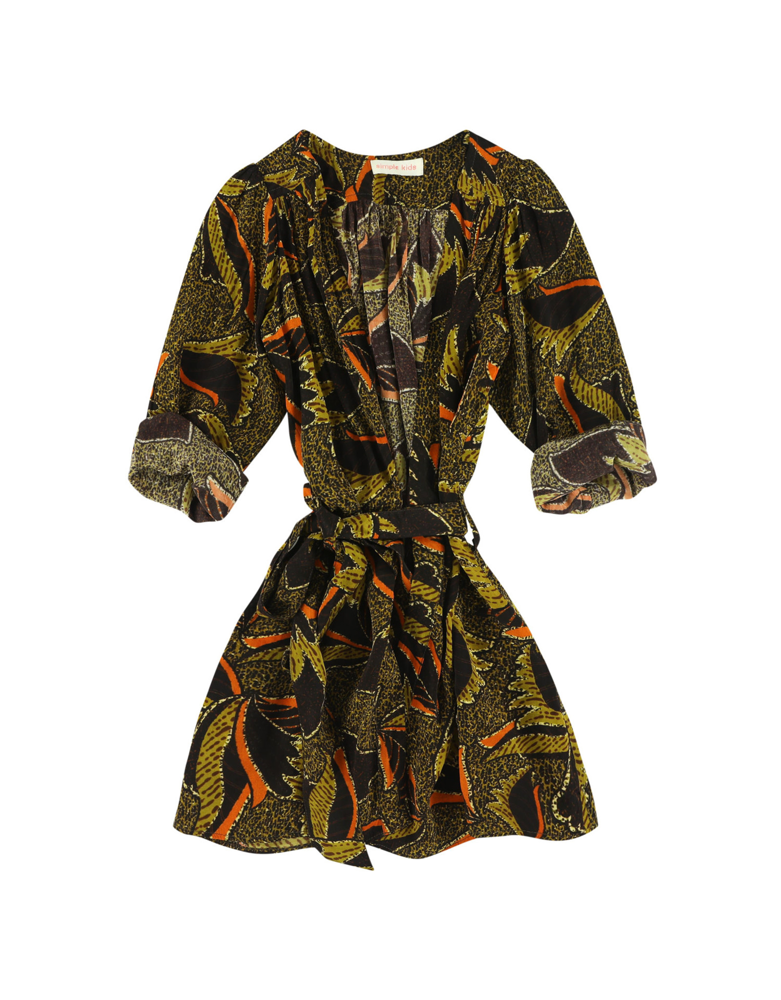 Simple Kids SS21 Lamb tropical tan dress