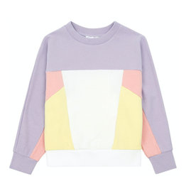 Colour block organic cotton jumper candy pink