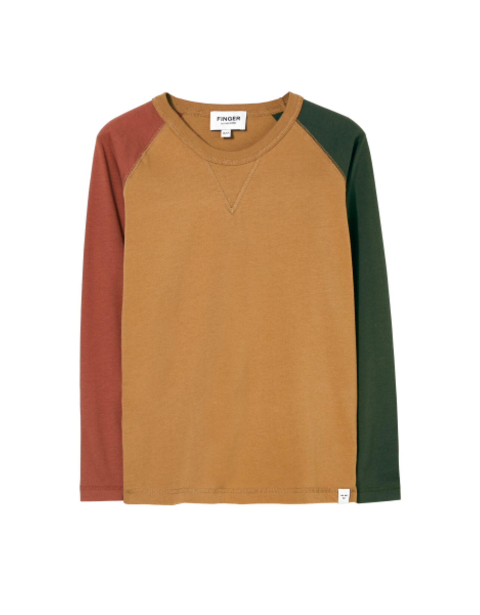Finger in the Nose Finger in the Nose FW21 Neal Tobacco colourblock shirt