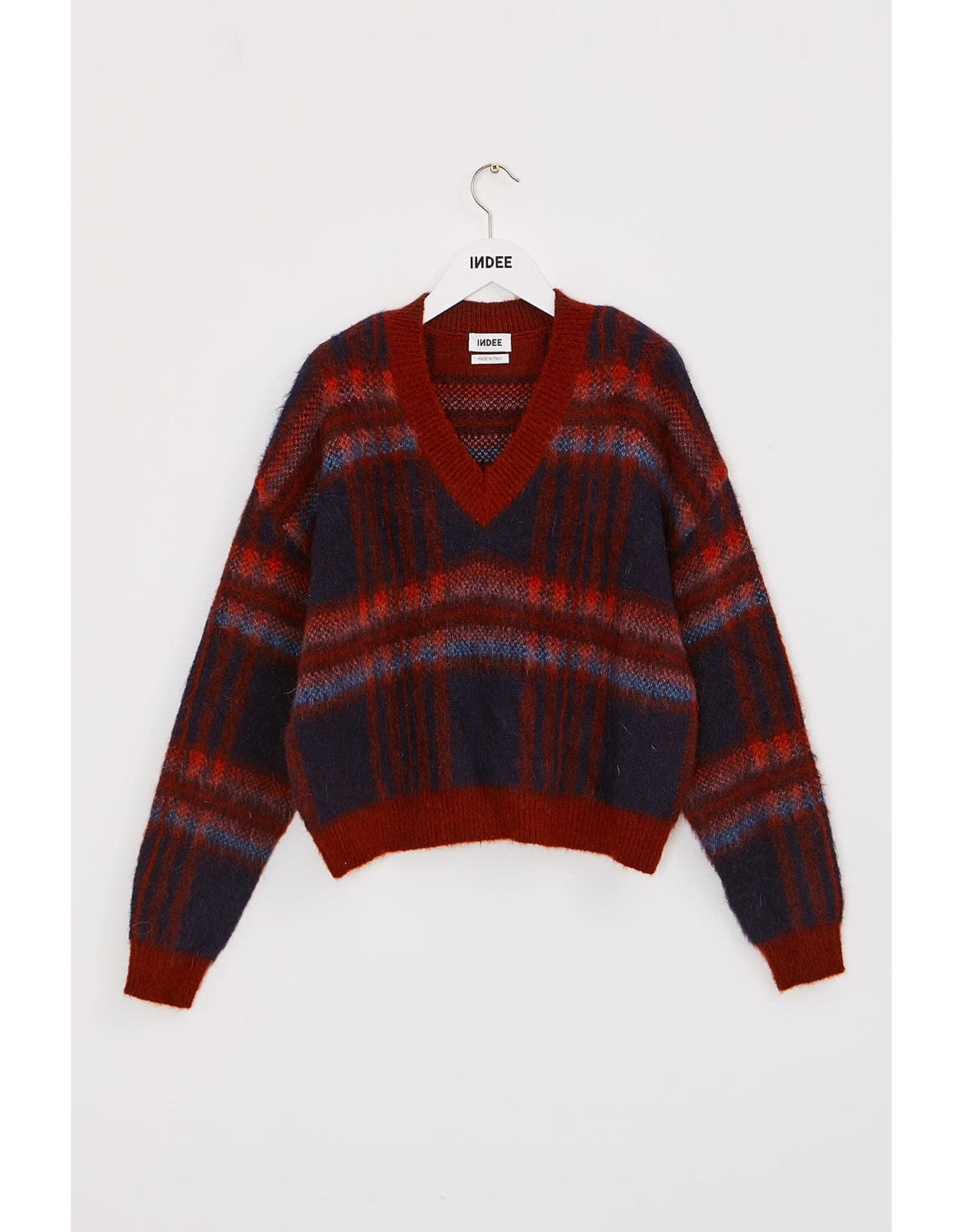 INDEE FW21 Kilt knit sweater midnight blue