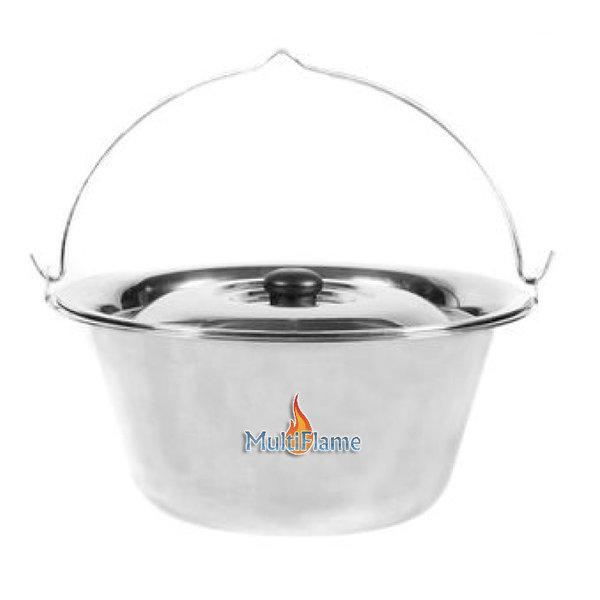 Grote RVS hangpan / goulash pan voor open vuur