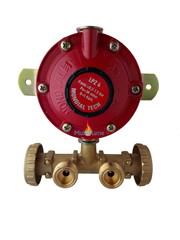 Gasdrukregelaar 30 mbar met muurplaat en 2 regelbare gasfles aansluitingen