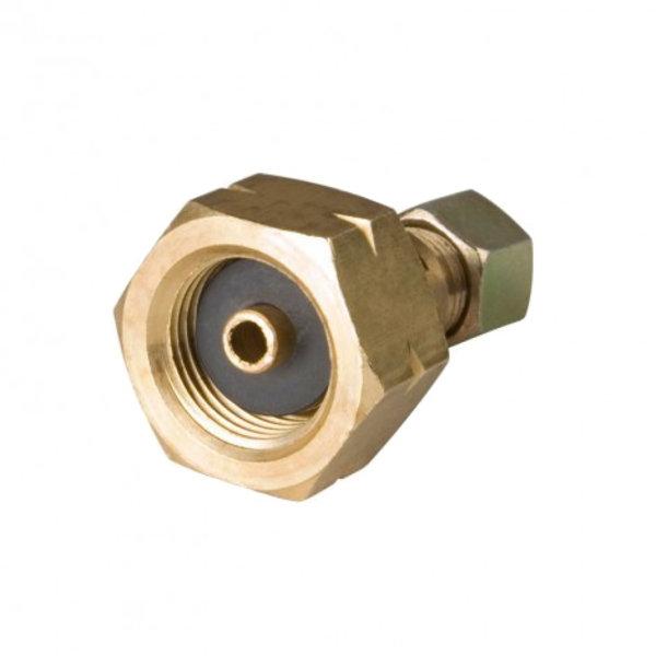 Damptank verloopnippel gasfles aansluiting naar 8 mm