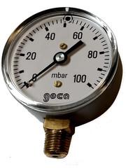 Lage druk manometer 0 - 100 mbar met 1/4 buiten aansluiting