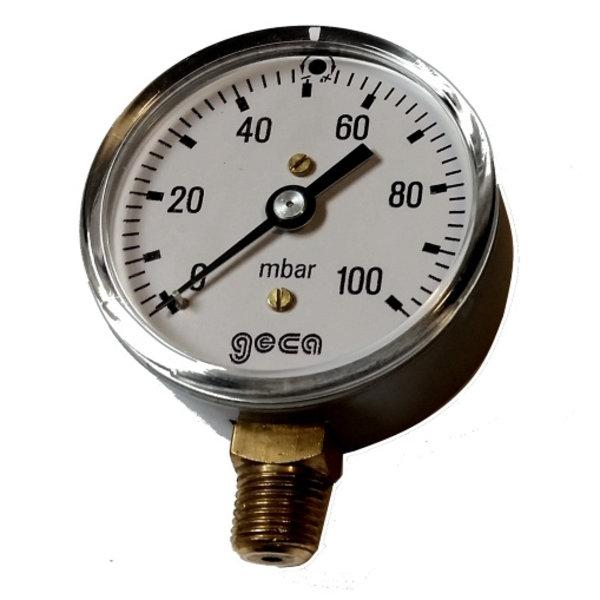Lage druk manometer 0 - 100 millibar met 1/4 buiten aansluiting