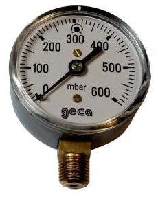 Lage druk manometer 0 - 600 mbar met 1/4 buiten aansluiting