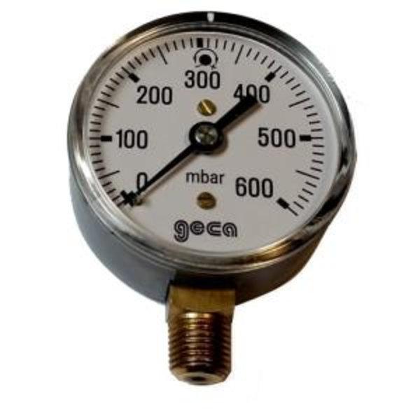 Lage druk manometer 0 - 600 millibar met 1/4 buiten aansluiting