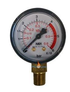 """Manometer 0-6 BAR met 1/4"""" buiten aansluiting"""