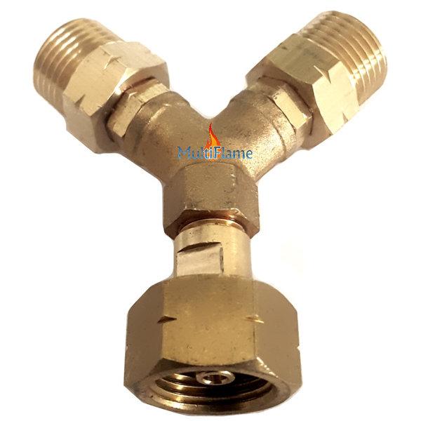 Y-splitter shell voor 2 drukregelaars op 1 gasfles