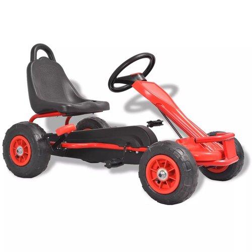vidaXL Skelter met pedalen en pneumatische banden rood