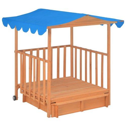 vidaXL Speelhuis voor kinderen met zandbak UV50 hout blauw
