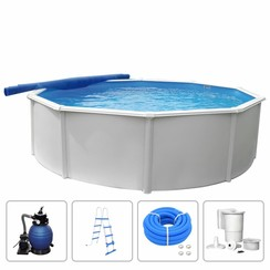 Zwembadset Steely Deluxe rond 5,5x1,2 m