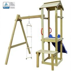 Speelhuis met glijbaan en ladder 228x168x218 cm hout
