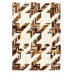 Vloerkleed patchwork 160x230 cm echt harig leer bruin/wit