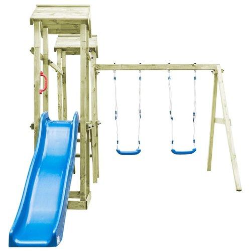 vidaXL Speelhuis ladder, glijbaan en schommels 252x432x218 cm FSC hout