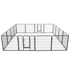 Hondenren met 16 panelen 80x80 cm staal zwart