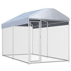 Hondenkennel voor buiten met dak 382x192x235 m
