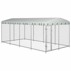 Hondenkennel voor buiten met dak 8x4x2 m
