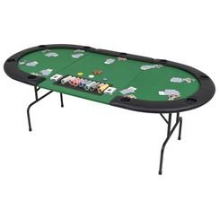 Pokertafel voor 9 spelers ovaal 3-voudig inklapbaar groen