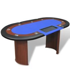 Pokertafel voor 10 personen met dealervak en fichebak blauw