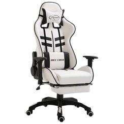 Gamingstoel met voetensteun kunstleer zwart