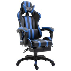 Gamingstoel met voetensteun kunstleer blauw