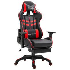 Gamingstoel met voetensteun kunstleer rood