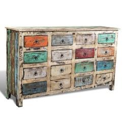 Kast met 16 lades stijl gerecycled hout meerkleurig
