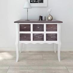 Wandkast met 6 lades bruin en wit hout