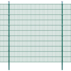Dubbelstaafmatten en palen 2008x2230 mm 44 m groen