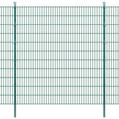 Dubbelstaafmatten en palen 2008x2230 mm 32 m groen