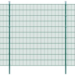 Dubbelstaafmatten en palen 2008x2230 mm 30 m groen