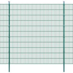 Dubbelstaafmatten en palen 2008x2230 mm 24 m groen