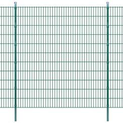 Dubbelstaafmatten en palen 2008x2230 mm 36 m groen
