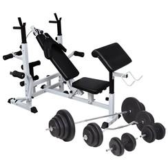 Gewichtenbank met gewichtenrek en halterset 120 kg