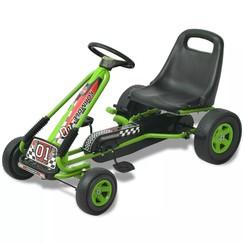 Skelter met pedalen en verstelbare zitting groen