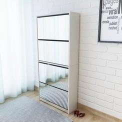 Schoenenkast met 4 spiegels 63x17x134 cm wit