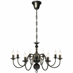 Kroonluchter zwart metaal 8 x E14 lampen